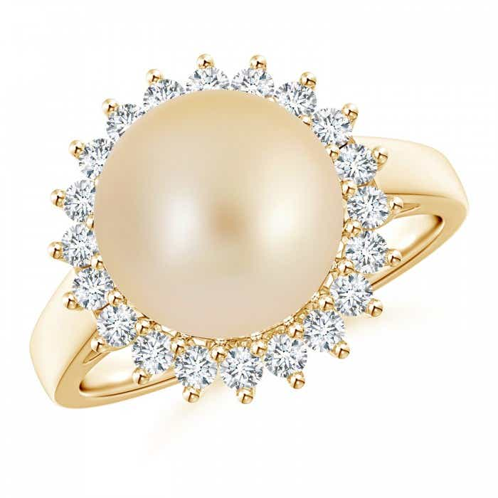 Angara Golden South Sea Cultured Pearl Ring with Floral Halo nGZOxo