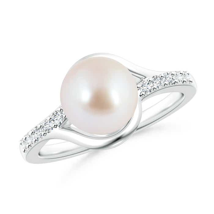 Angara Akoya Cultured Pearl Bypass Ring with Diamonds