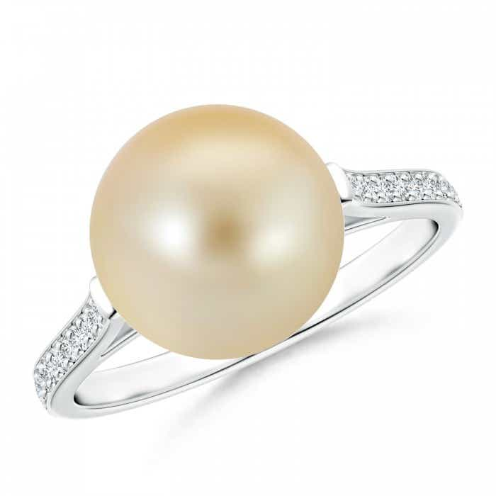 Angara Freshwater Cultured Pearl Ring with Pave Diamonds TSVYhIASnD