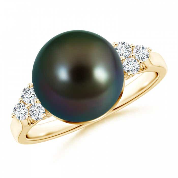 Angara Tahitian Cultured Pearl Ring with Trio Diamonds TaF0d0