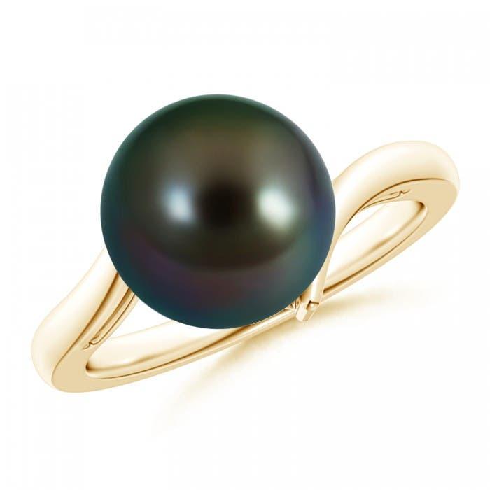 Angara Tahitian Cultured Pearl and Diamond Swirl Bypass Ring 8xnZWUSI8