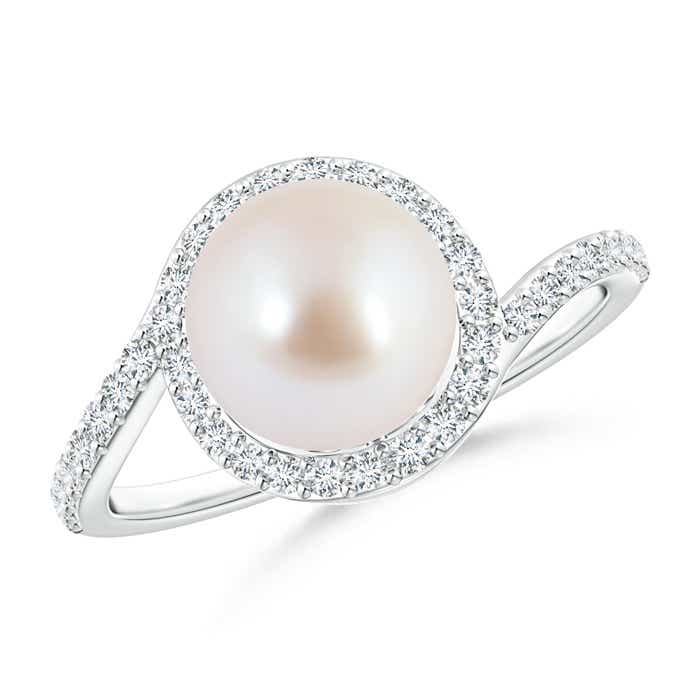 Angara Akoya Cultured Pearl Spiral Halo Ring with Diamonds