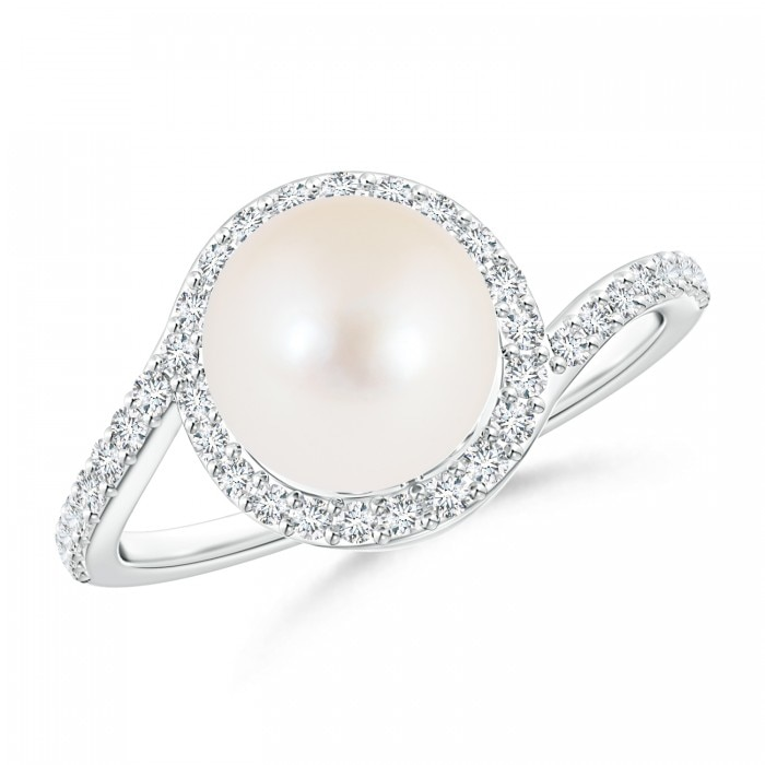 Angara Freshwater Cultured Pearl Ring with Diamond Loop lyqbl