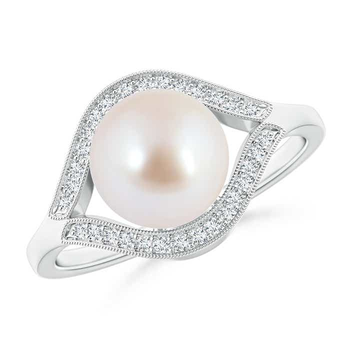 Angara Akoya Cultured Pearl Ring with Diamond Loop Link Azh45aW