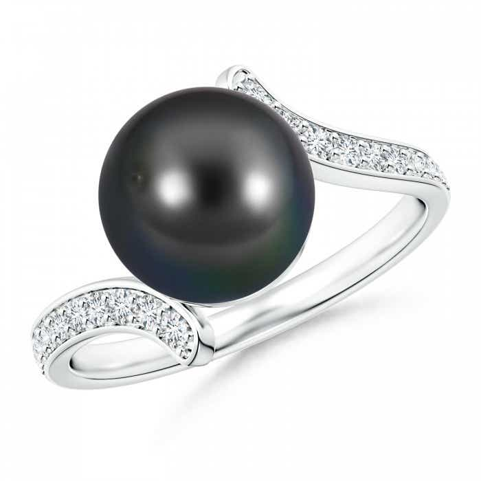 Angara Tahitian Cultured Pearl Ring with Diamond Accents QLK6LhL7QQ