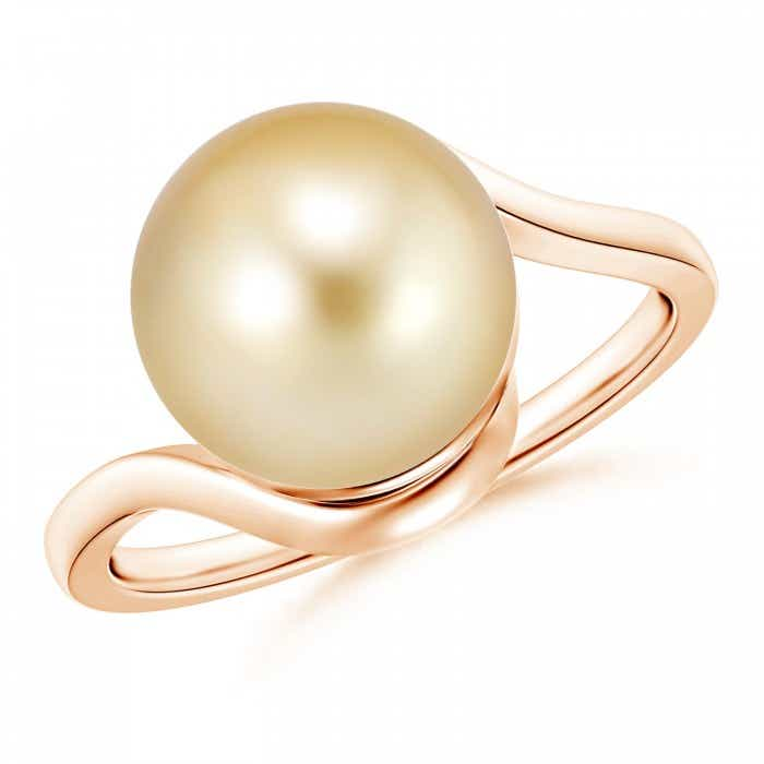 Angara Golden South Sea Cultured Pearl Bypass Ring with Trio Diamond