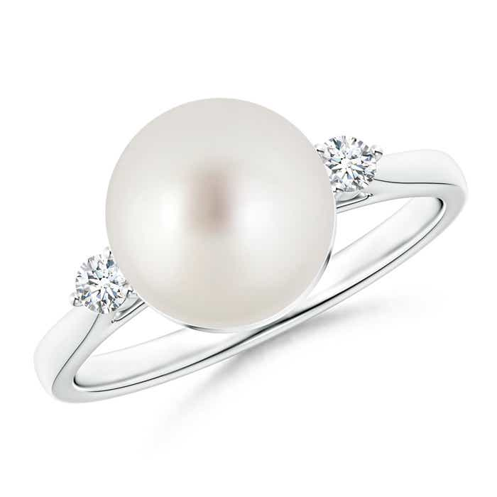Angara Solitaire South Sea Cultured Pearl Ring with Cluster Diamond Accents I6HwjTh