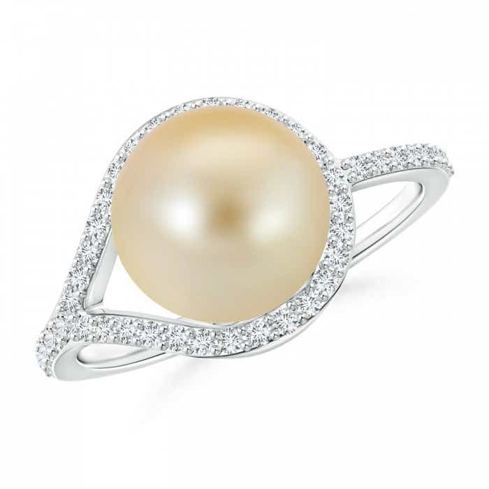 Angara Golden South Sea Cultured Pearl Halo Ring with Diamonds bqYSwpxJT