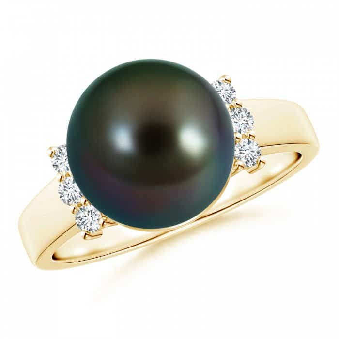Angara Tahitian Cultured Pearl Ring with Pave Diamonds O5ihdVvVy7