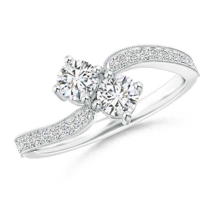 Angara Vintage Inspired Two Stone Diamond Bypass Ring XcuGGr7pfp