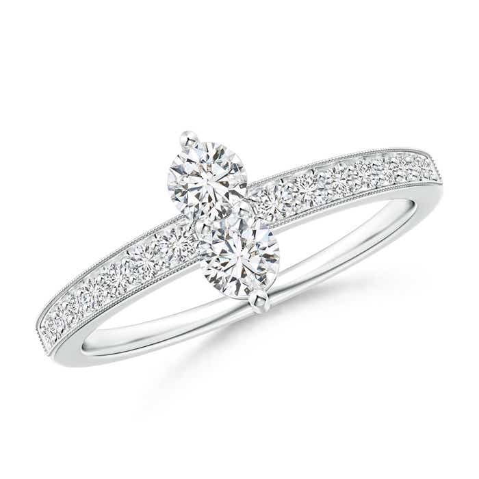Angara Two Stone Twist Diamond Ring with Prong-Set V35QFWQI