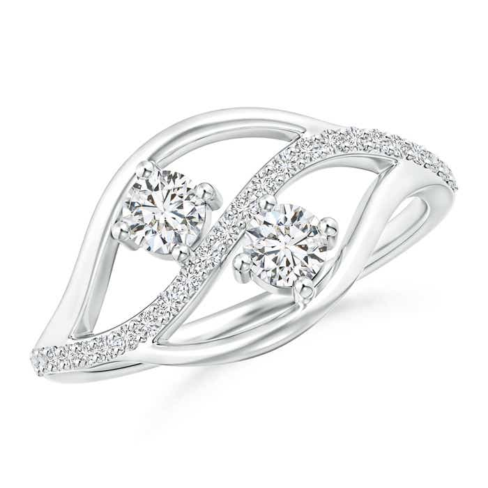 Angara Three Prong-Set Diamond Two Stone Ring with Milgrain Diamond Accents fUo7cd
