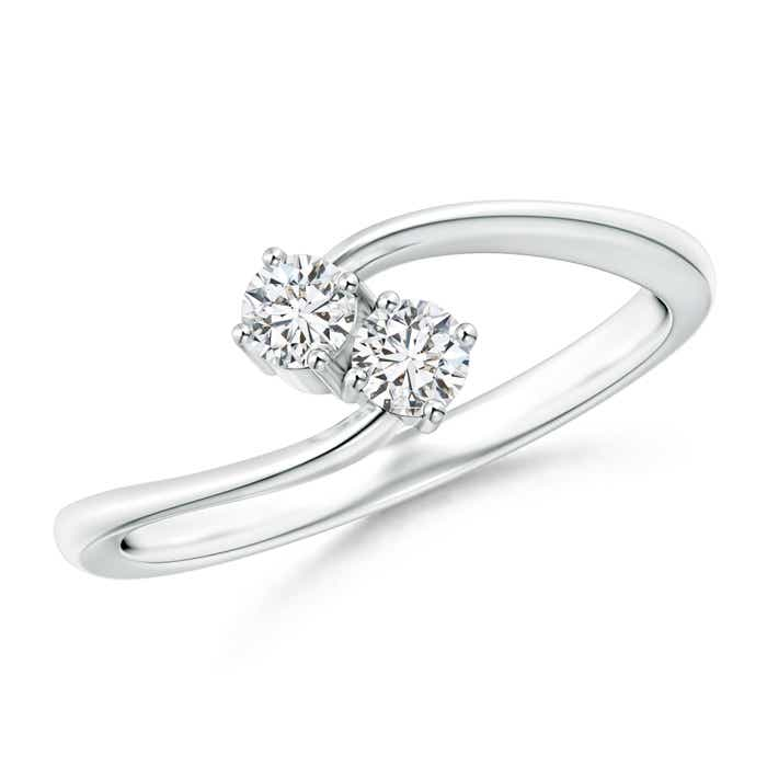 Angara Two Stone Twist Diamond Ring with Prong-Set