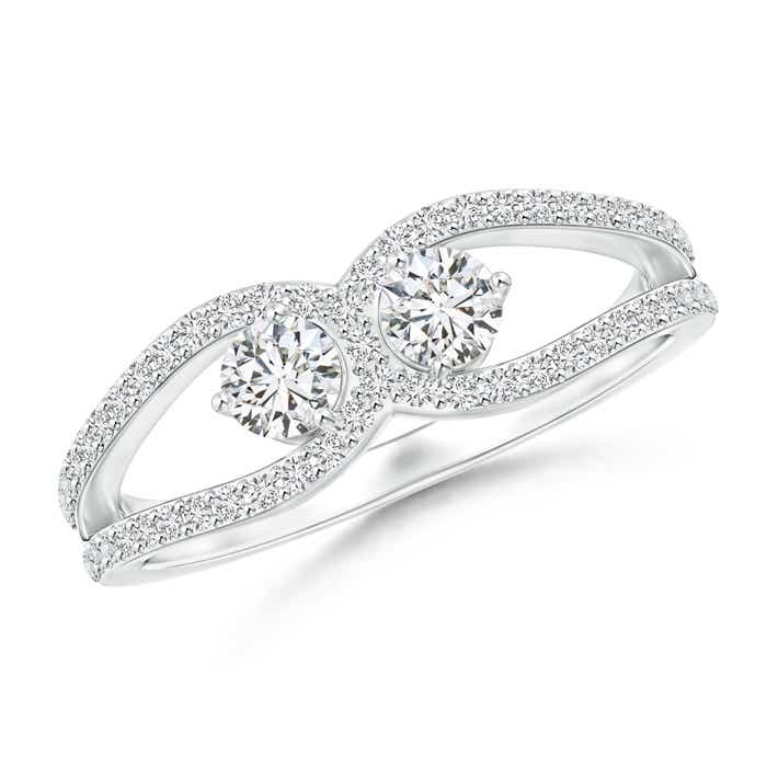 Angara Three Prong Set Two Stone Diamond Infinity Loop Ring uGJsIV