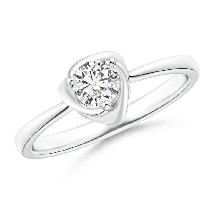 Angara Four Prong Round Diamond Solitaire Engagement Ring