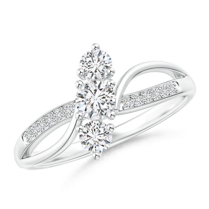 Angara Diamond Three Stone Bypass Bridal Set in Yellow Gold Z1whN