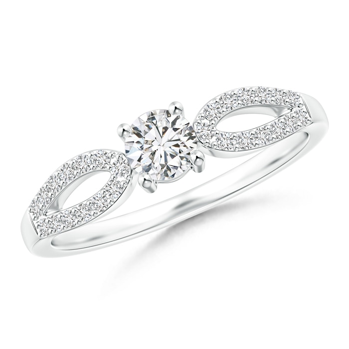 Angara Diamond Studded Bypass Promise Ring with Prong Set