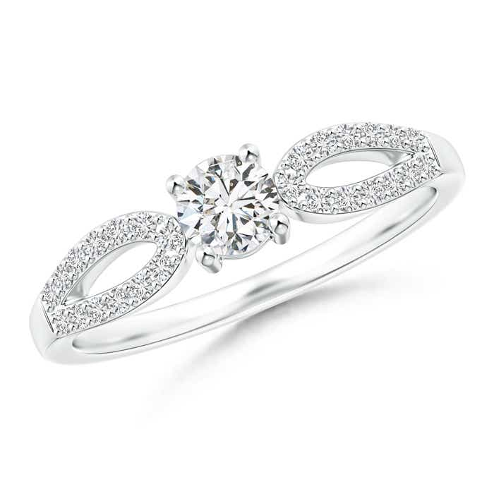 Angara Round Diamond Solitaire Engagement Ring in 14k White Gold