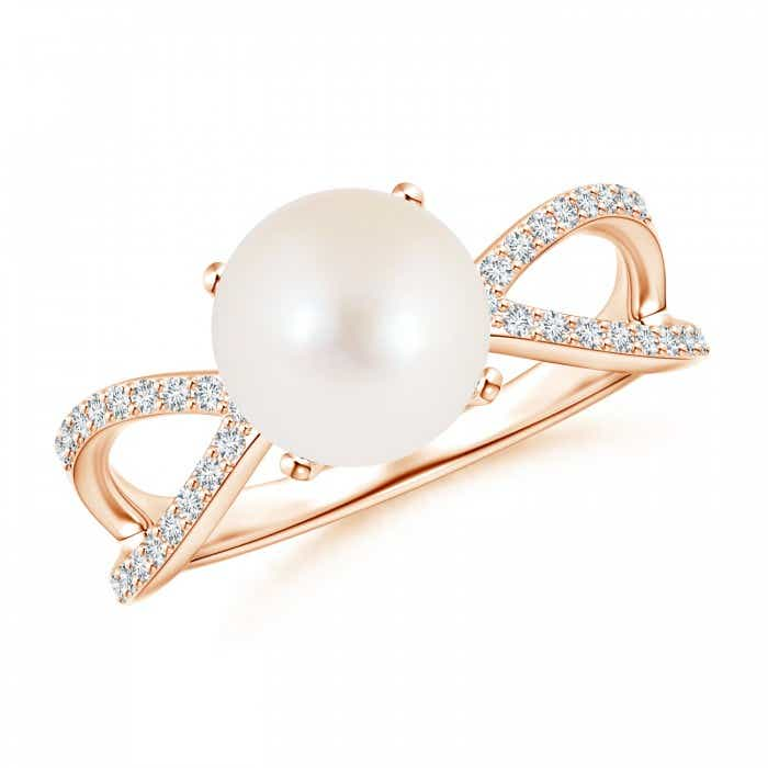 Angara FreshWater Cultured Pearl and Diamond Split Shank Ring 7zMhWWJpZ