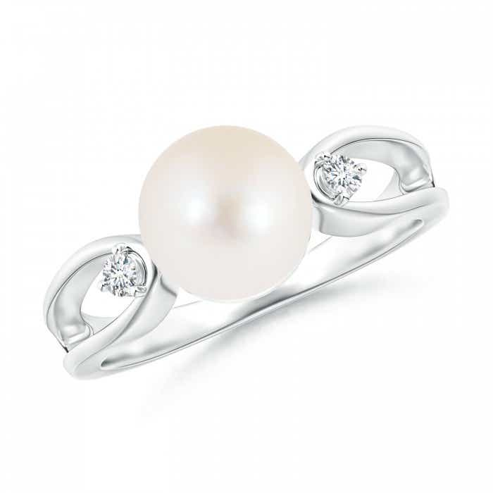 Angara Freshwater Cultured Pearl Solitaire Split Shank Ring