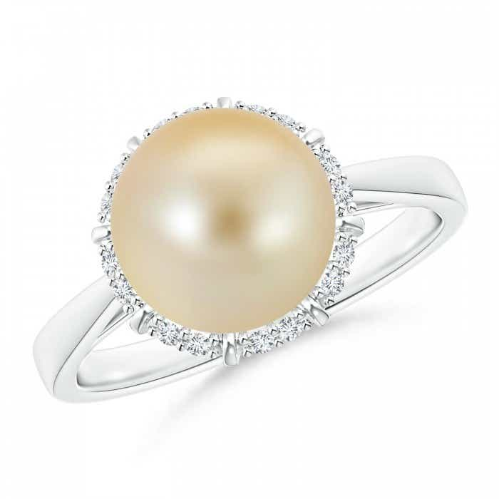 Angara Golden South Sea Cultured Pearl Floral Ring with Diamonds 6qW1E1RwV
