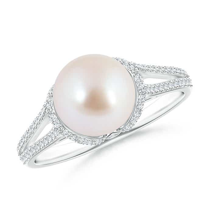 Angara Victorian Style Akoya Cultured Pearl and Diamond Ring nOjVd6