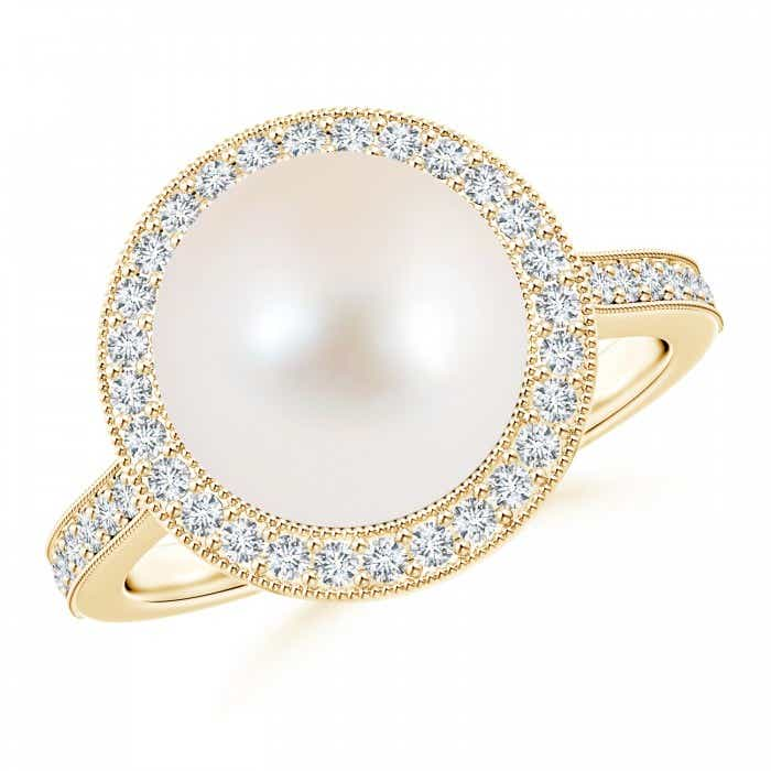 Angara Freshwater Cultured Pearl Halo Ring with Diamonds