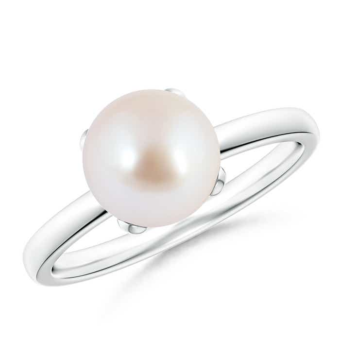 Angara Classic Akoya Cultured Pearl Solitaire Ring