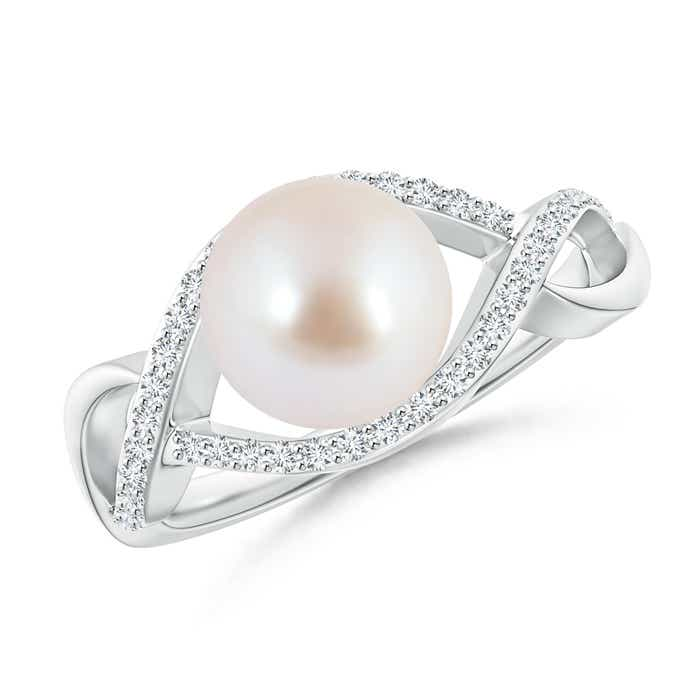 Angara Akoya Cultured Pearl and Diamond Split Shank Ring 7YAL30LQ