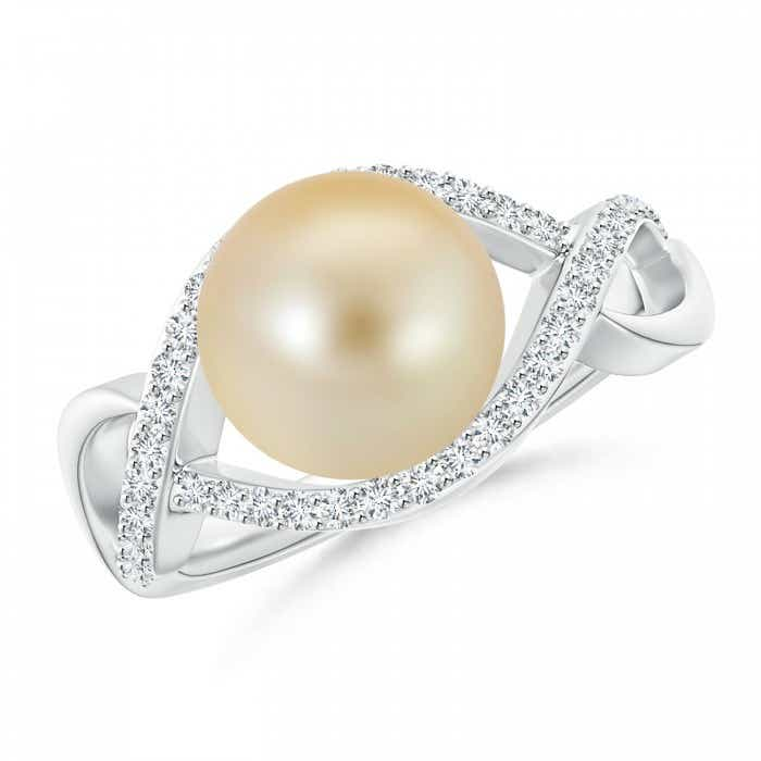 Angara South Sea Cultured Pearl Solitaire Ring with Diamond