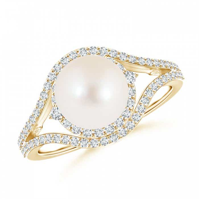 Angara FreshWater Cultured Pearl and Diamond Split Shank Ring 2JoUps8S
