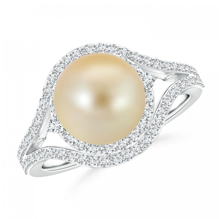 Angara Golden South Sea Cultured Pearl and Diamond Double Halo Ring mgdBWM