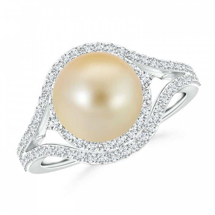 Angara Akoya Cultured Pearl Halo Split Shank Ring
