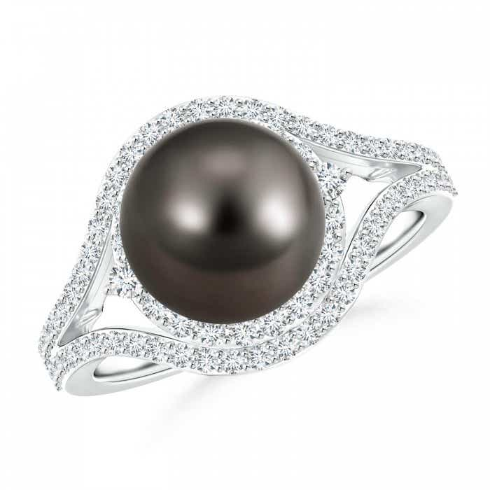 Angara Freshwater Cultured Pearl Split Shank Ring with Double Halo sMpuQPZ