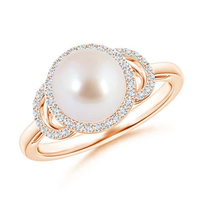 Angara Akoya Cultured Pearl XO Ring with Diamonds cMtT3D