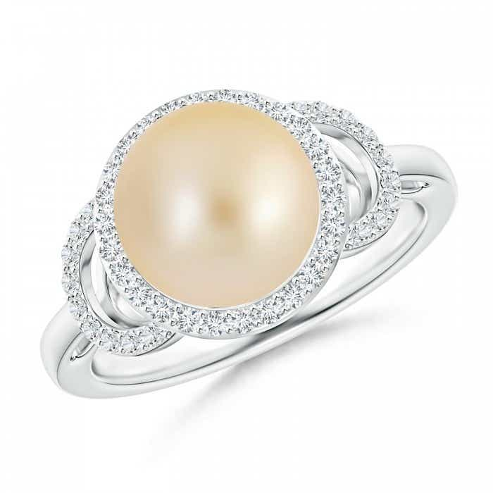 Angara Golden South Sea Cultured Pearl Ring with Double Halo