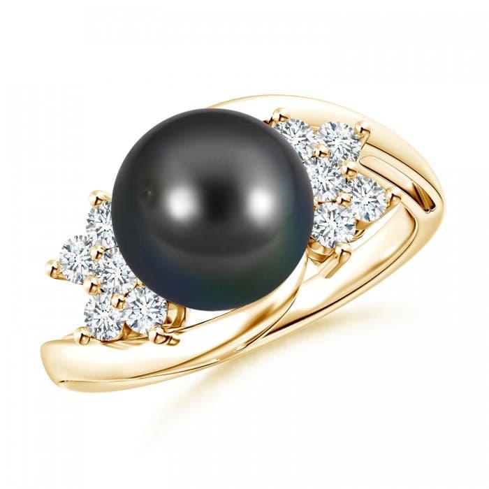 Angara Tahitian Cultured Pearl Floral Ring with Diamonds rFKNx