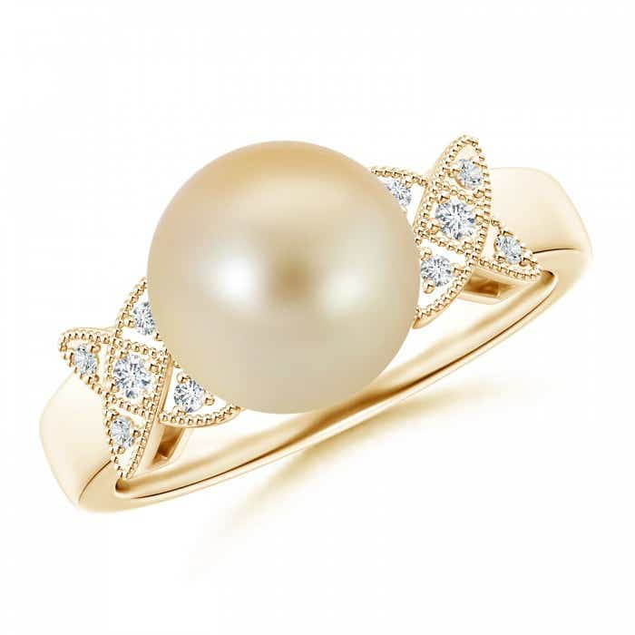 Angara Golden South Sea Cultured Pearl Ring with Pave Diamonds WGyCBCdJ
