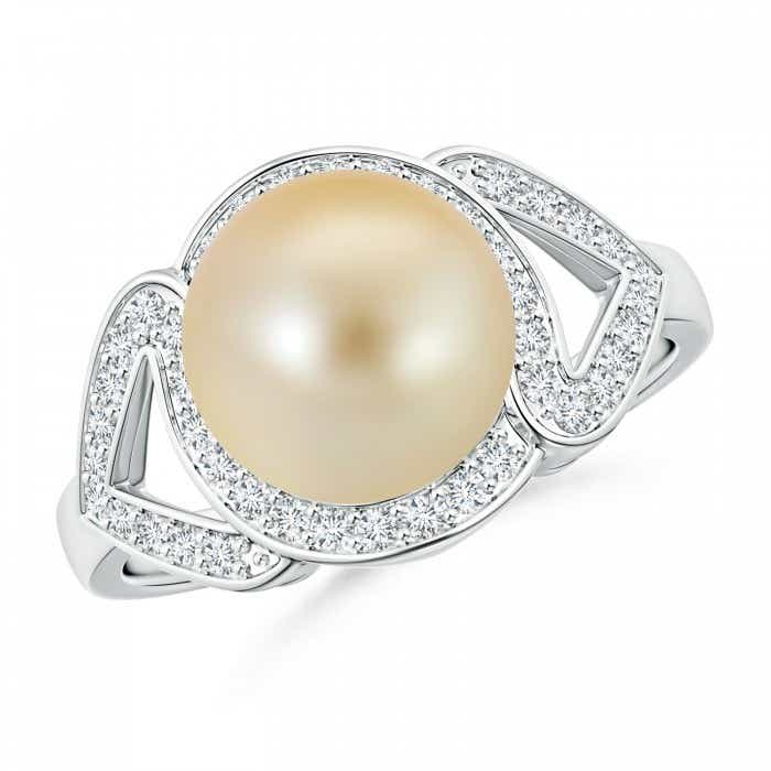 Angara Golden South Sea Cultured Pearl Ring with Diamond Halo gYV3Fy