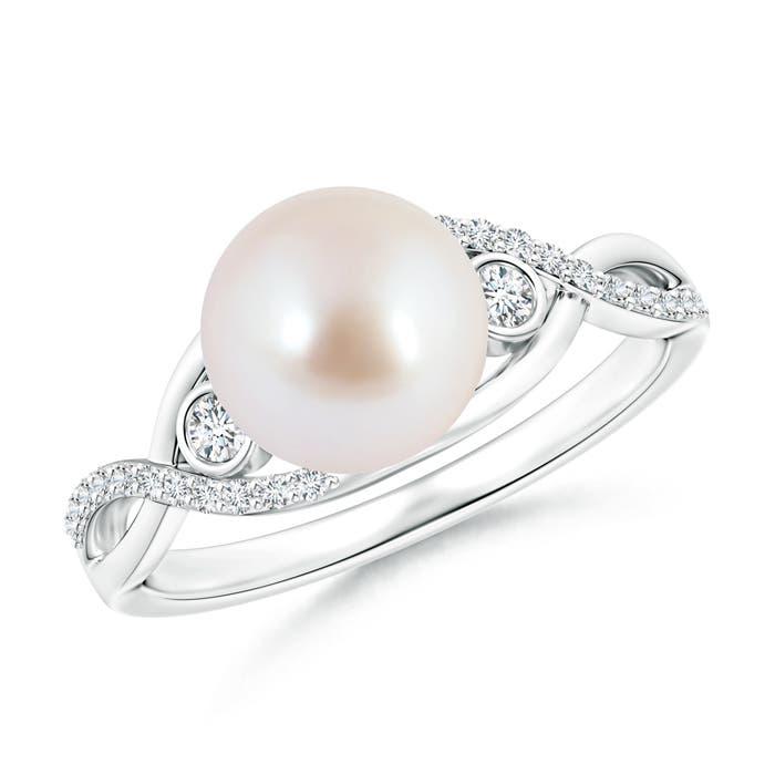 Angara Akoya Cultured Pearl Infinity Ring with Diamonds BNPQQcD7R