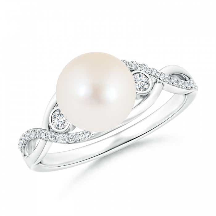 Angara Freshwater Cultured Pearl Ring with Diamond Accents Y4E80MOZ