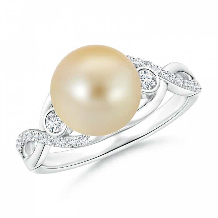 Angara Freshwater Cultured Pearl Ring with Diamond Loop