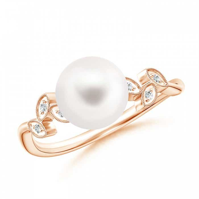 Angara Victorian Style Freshwater Cultured Pearl and Diamond Ring