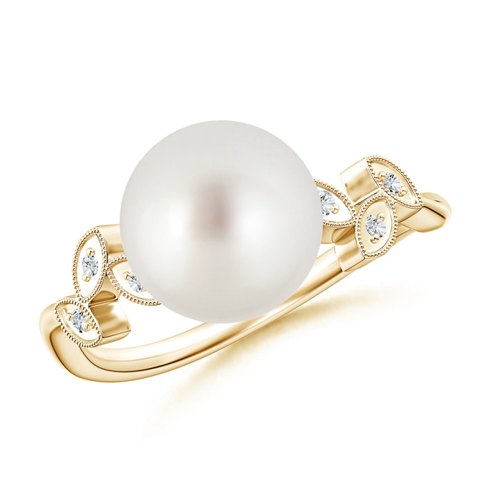 Angara Freshwater Cultured Pearl Ring with Diamond Leaf Motifs xjwH2