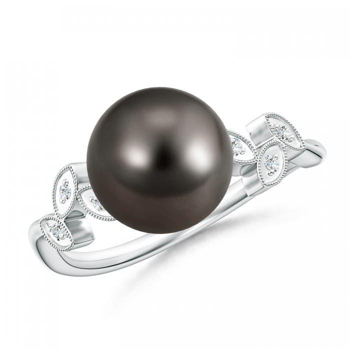 Angara Freshwater Cultured Pearl Ring with Diamond Leaf Motifs Afkz0Q