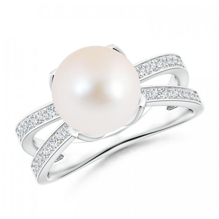 Angara Classic Freshwater Cultured Pearl Solitaire Ring 82aESEb