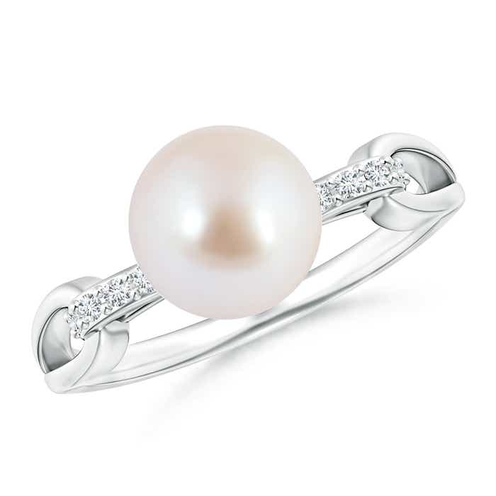 Angara Akoya Cultured Pearl Ring with Cluster Diamonds