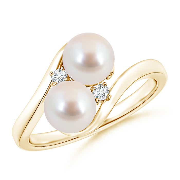 Angara Double Akoya Cultured Pearl Ring with Diamond Accents PmHXBQxUW