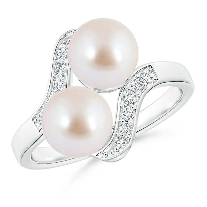 Angara Two Stone Akoya Cultured Pearl Ring with Diamond Accents wI1Twn