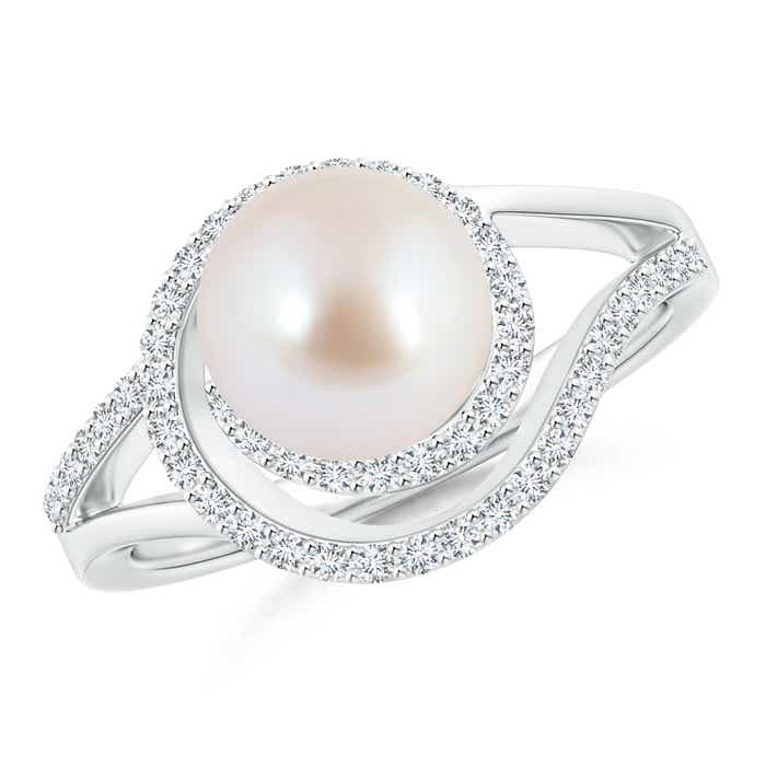 Angara Akoya Cultured Pearl Halo Split Shank Ring kkVCat62fP